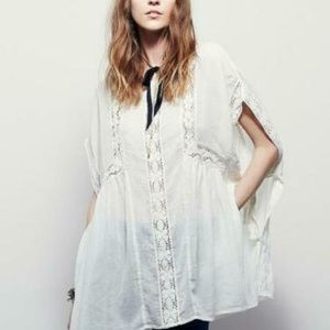 Free People Rose Beach Cotton Lace CoverUp Top S